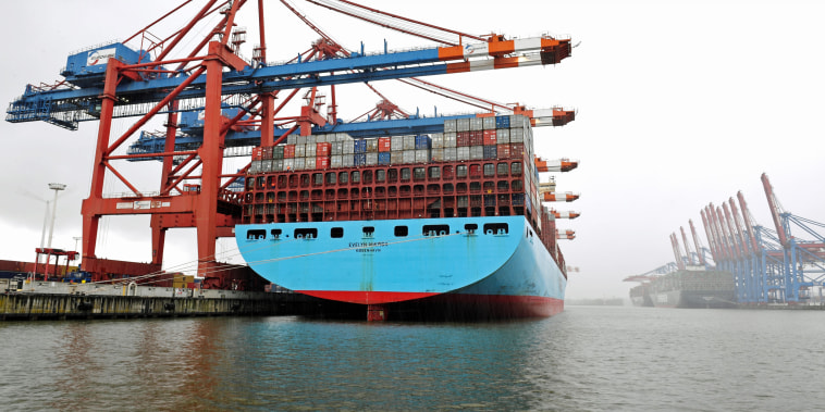 A container ship is loaded at a terminal in Hamburg, Germany, on April 6, 2021.