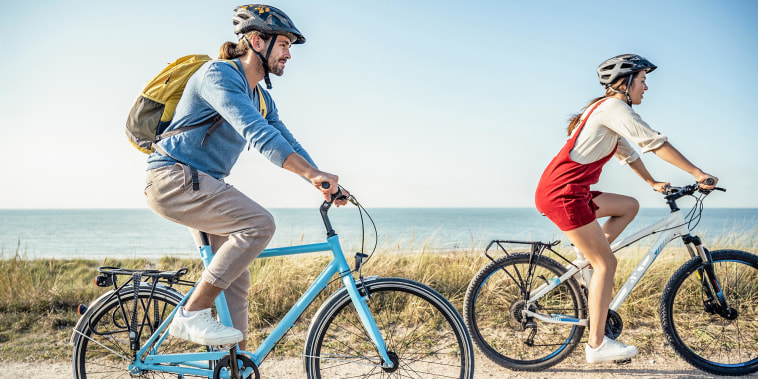 Woman and man biking on the beach, wearing helmets. Shop the best bike helmets of 2021 and learn how to choose the best bike helmet for you. See bike helmets from Schwinn, Cannondale, Giro, ABUS and more.