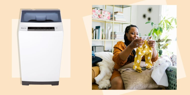 Illustration of a woman folding laundry and the portable Magic Chef 1.6 cu. ft. Compact White Top Load Washing Machine