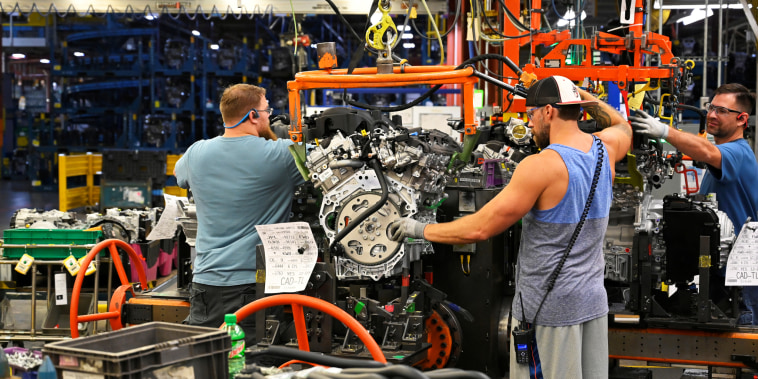 Engines arrive on the assembly line at the General Motors manufacturing plant in Spring Hill, Tenn., on Aug. 22, 2019.