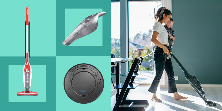Illustration of a Woman holding her baby and vacuuming her floor, a grey Black + Decker Dustbuster, Dirt Devil Power Express Lite Stick Vacuum and  BowAi 3-in-1 Robotic Vacuum. These are the best affordable vacuums of 2021. Shop these top-rated vacuums
