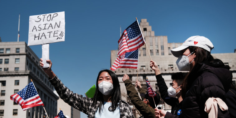 Image: Protesters demand an end to anti-Asian violence on April 4, 2021 in New York City.