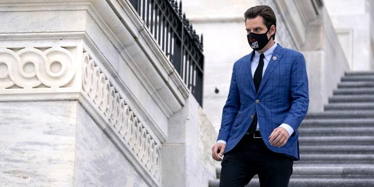 Rep. Matt Gaetz, R-Fla., departs the Capitol on Jan. 4, 2021.