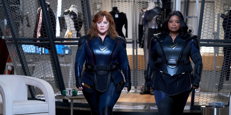 """Melissa McCarthy as Lydia and Octavia Spencer as Emily in \""""Thunder Force\"""" on Netflix."""