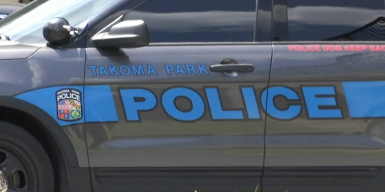 A Tacoma Park Police vehicle in Tacoma Park, Md., on April 9, 2021.