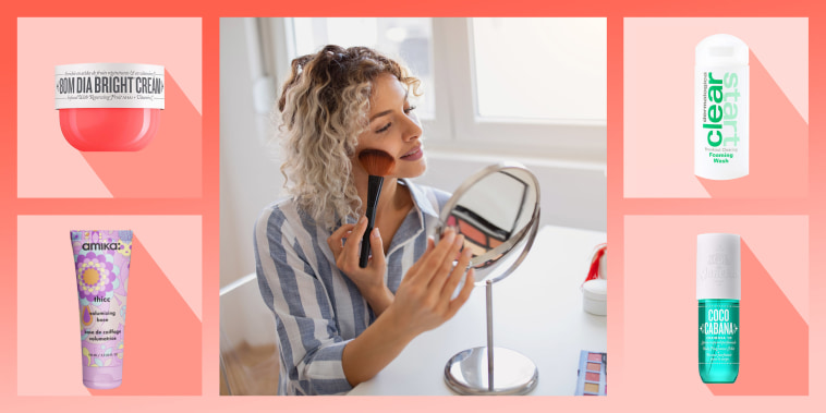 Woman using a blush brush on her cheek while looking in a little mirror, and a roundup of products on sale at Sephora
