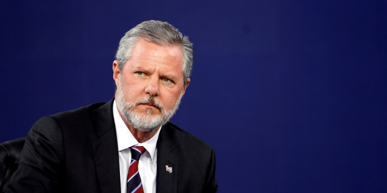 Liberty University President Jerry Falwell Jr., attends commencement in Lynchburg, Virginia
