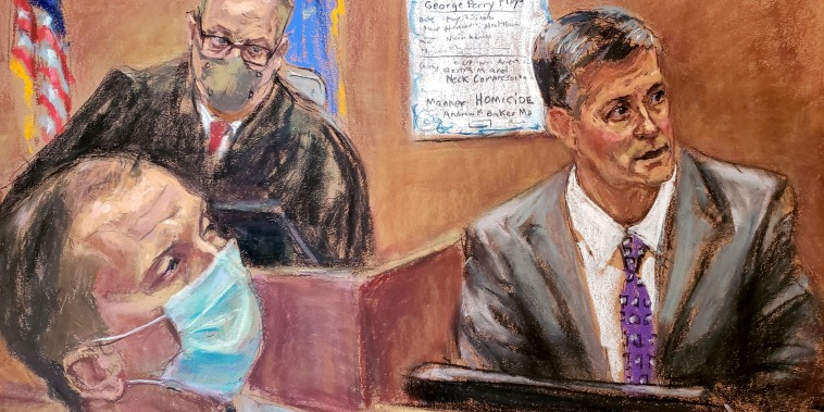 Courtoom sketch of Hennepin County Medical Examiner Dr. Andrew Baker testifies during the trial of former Minneapolis police officer Derek Chauvin on April 9, 2021.