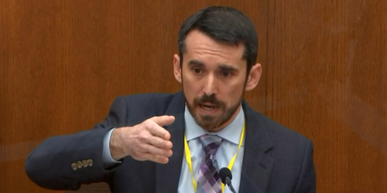Image: Seth Stoughton testifies during Derek Chauvin's trial on April 12, 2021.