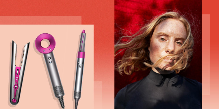 Illustration of a Woman with flow hair and three different types of Dyson hair hot tools. Shop the best Dyson hot tools of 2021. See the best Dyson hair tools such as the Dyson Supersonic hair dryer, Dyson Airwrap and Dyson Corrale straightener.