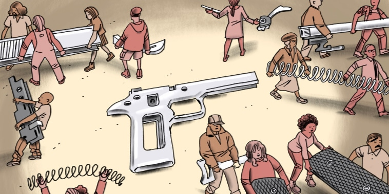 Illustration of diverse figures disassembling a hand gun.