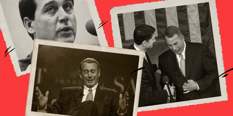 Photo collage of a younger John Boehner, him with Paul Rand and John Boehner on stage.