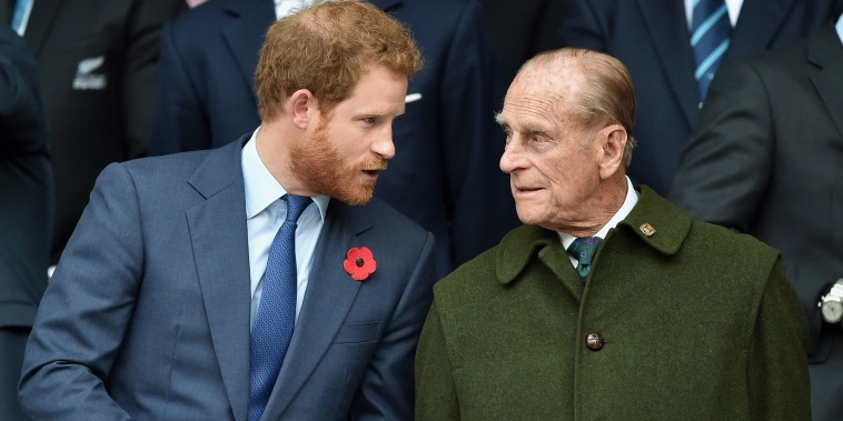 Image: Prince Harry and Prince Philip, Duke of Edinburgh attend the 2015 Rugby World Cup Final match between New Zealand and Australia at Twickenham Stadium