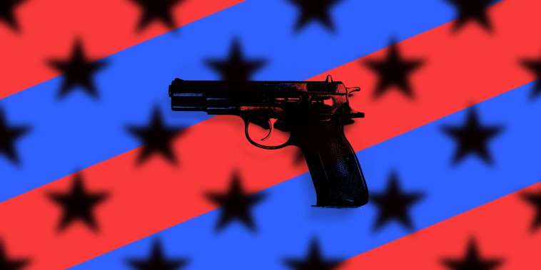 Photo illustration of a gun against red and blue stripes with blurred black stars over it.