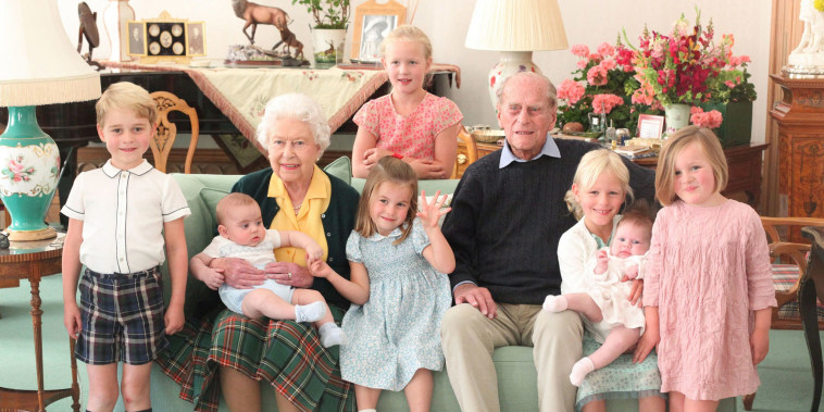 Image: Queen Elizabeth II and Prince Philip, Duke of Edinburgh with their great grandchildren.