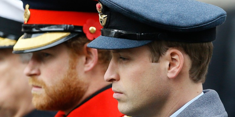 Prince William and Prince Harry, attend the Remembrance Sunday ceremony at the Cenotaph in London on Nov. 8, 2015.
