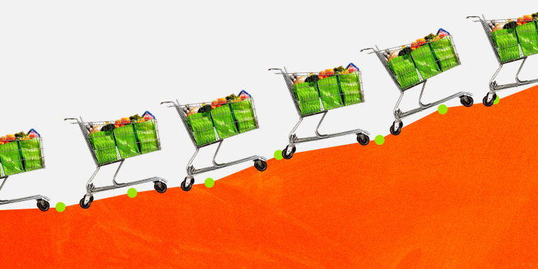 Illustration of shopping carts packed with groceries traveling up a growing line graph.