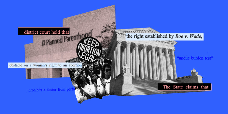 """Photo collage of images of a Planned Parenthood clinic, the Supreme Court of the United States and women displaying a \""""Keep Abortion Legal\"""" sign from 1989. Text snippets over it read,\""""state claims that\"""", the right established by Roe v Wade\""""."""