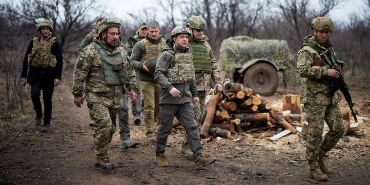 Ukraine's President Volodymyr Zelenskiy visits positions of armed forces near the frontline with Russian-backed separatists during his working trip in Donbass region on April 8, 2021.