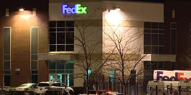 Image: The scene of a shooting at a FedEx warehouse in Indianapolis.