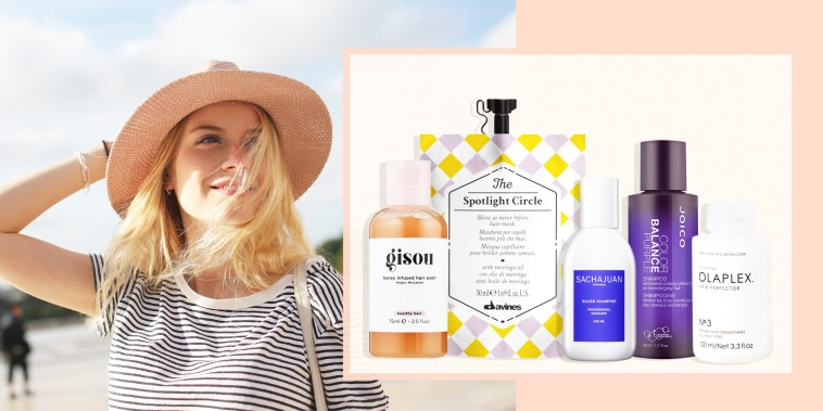 Illustration of a woman with icy blonde hair wearing a pink hat, and bleach shampoo's from Gisou, The Spotlight Circle, Sachajuan, Joyce and Olaplex. Learn how to take care of bleached hair and shop the best shampoos for bleached hair and best conditioner