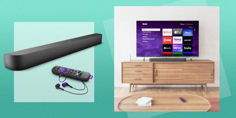 Illustration of living room with the Roku TV, with the StreamBar Pro and Remote, and a cutout of the Streambar Pro and remote with headphones plugged in