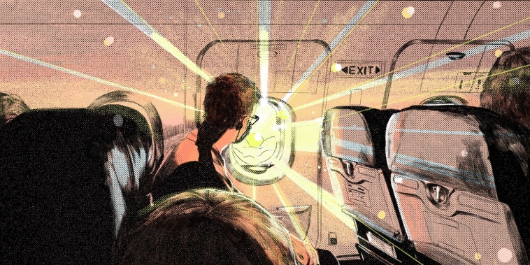 Illustration of a man in a mask looking at the glaring sun through a plane window.
