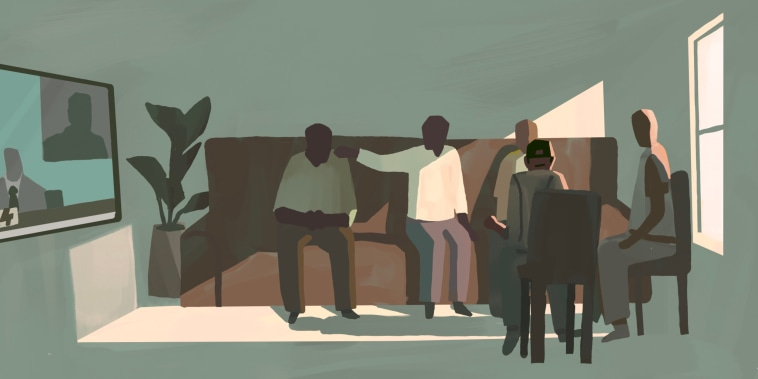 Illustration of Black men in a living room watching the Derek Chauvin trial on TV and comforting one another.