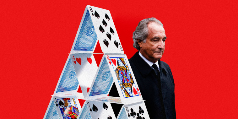 Illustration of Bernie Madoff behind a house of cards.