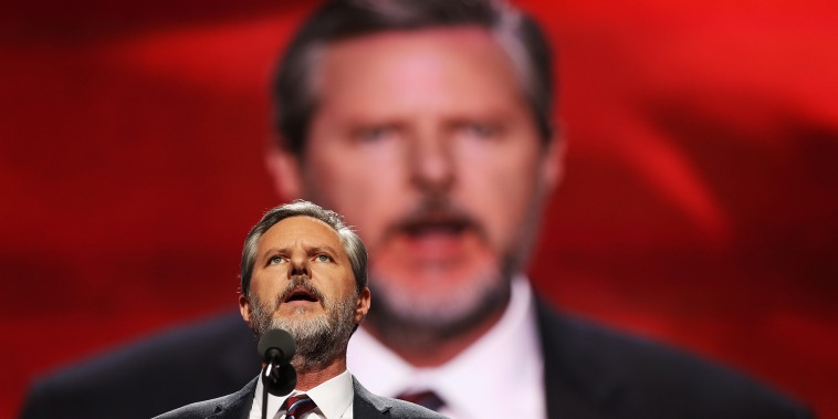 Image: Jerry Falwell Jr. giving a speech.