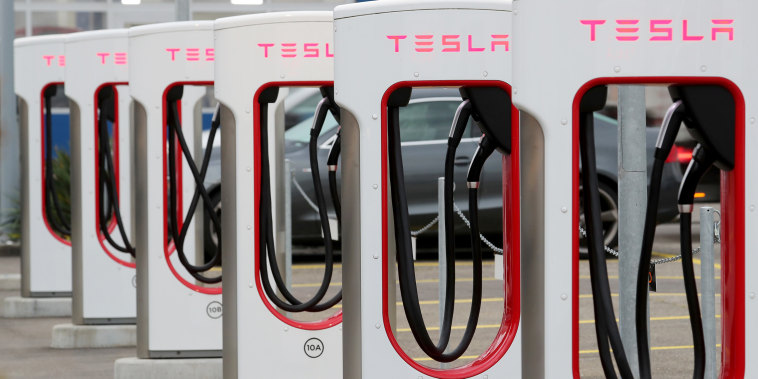 A Tesla Supercharger station is seen in Dietikon