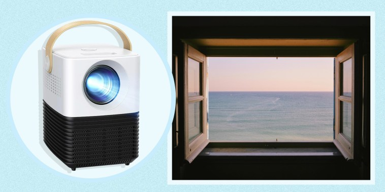 Illustration of a Window looking at a scenic beach view and the Apeman HD Portable Movie Projector