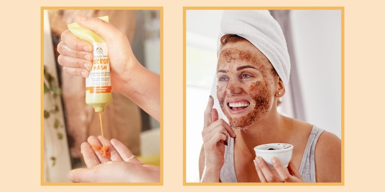Illustration of a Woman squeezing a bottle of The Body Shop Carrot Cream Moisturizer in her hand and a Woman applying a coffee rub on her face