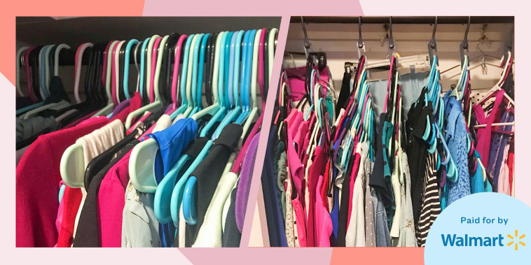 Illustration of before and after showing Chrissy Callahan's closet organized using As Seen on TV Wonder Hanger MAX Closet Storage Organizer