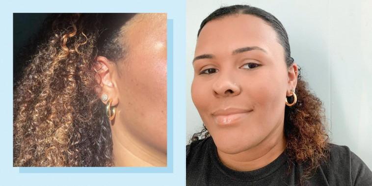 Two images of Kamari Stewart wearing medium gold hoop earrings