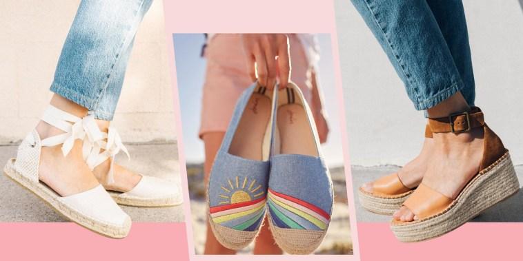 Illustration of open-toe Soludos Palermo Platform Wedges, Shelbury Espadrilles and the Soludos Lauren Espadrille Sandal