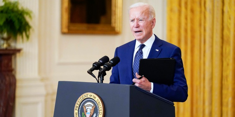 President Joe Biden speaks in the East Room of the White House on April 15, 2021.