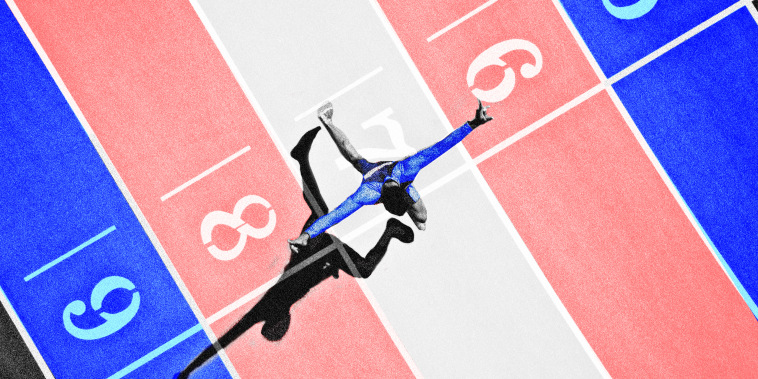 Photo illustration of a person on a race track where the colors form the transgender pride flag.