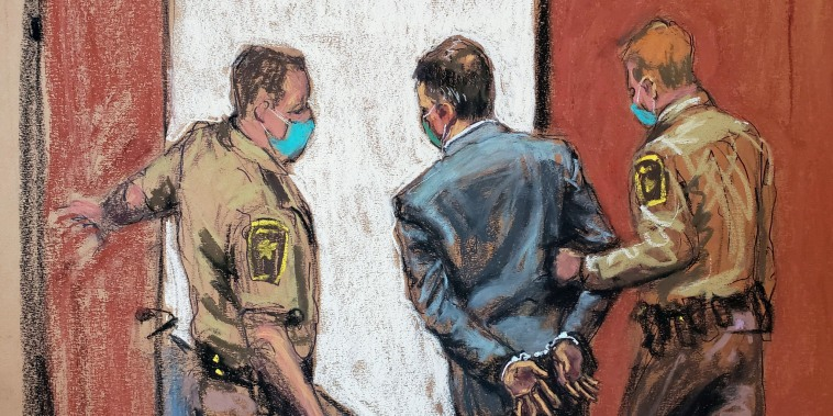 Image: courtroom sketch of Derek Chauvin led away in handcuffs