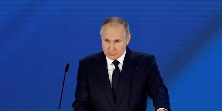 Image: Russian President Putin delivers annual address to the Federal Assembly in Moscow