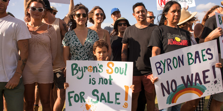 Image: Protests against the show in Byron Bay, Australia.