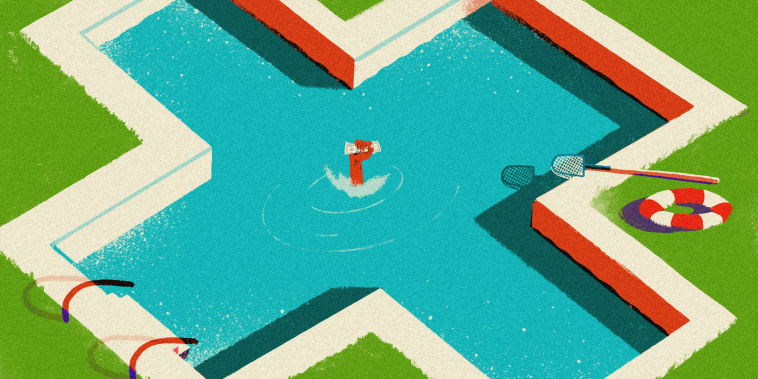 Illustration of a persons fist holding a single dollar bill as they drown in a pool shaped like a medical cross.