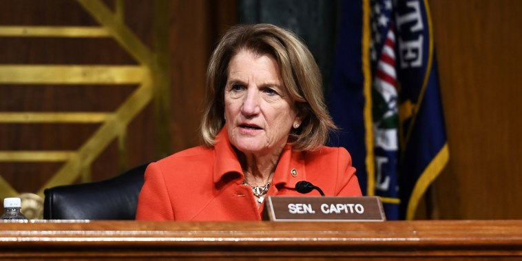 Sen. Shelley Moore Capito, R-W.Va., listens during a Senate hearing on Capitol Hill on Feb. 3, 2021.