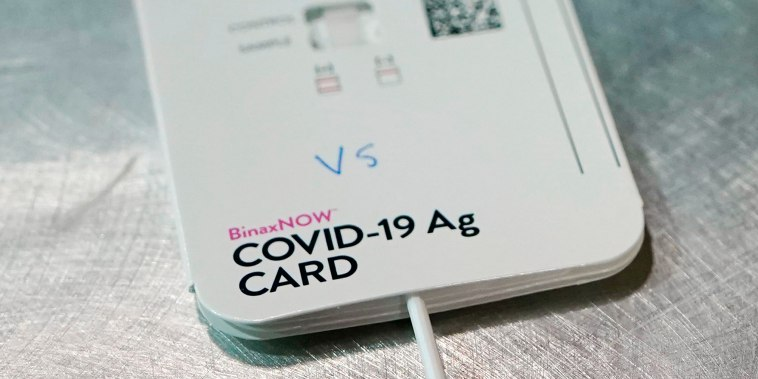 A BinaxNOW rapid Covid-19 test made by Abbott Laboratories, in Tacoma, Wash. on Wednesday, March 31, 2021.