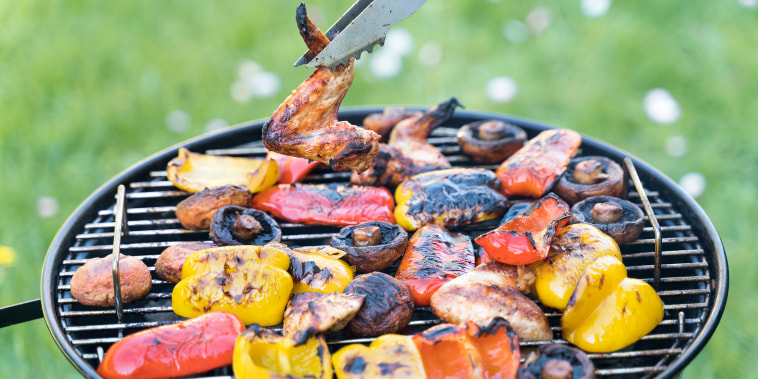 The Process Of Cooking Barbecue From Vegetables, Mushrooms And Chicken