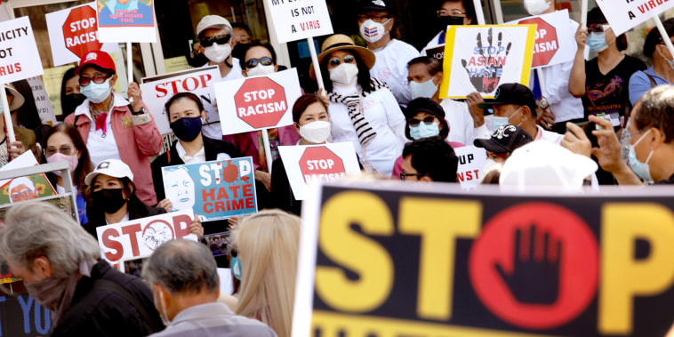 Thai Town community protest against anti-Asian violence - during the Coronavirus pandemic.