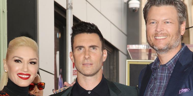Adam Levine with Gwen Stefani and Blake Shelton