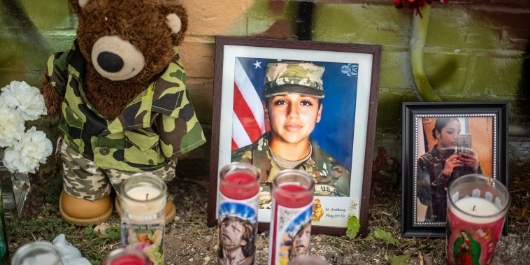 Image: People pay respects at a mural of Vanessa Guillen, a soldier based at nearby Fort Hood