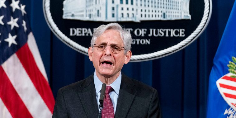 Attorney General Merrick Garland speaks about the jury's verdict in the case against former Minneapolis Police Officer Derek Chauvin on April 21, 2021, in Washington.