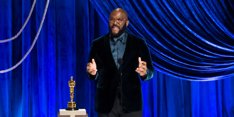 Tyler Perry accepts the Jean Hersholt Humanitarian Award onstage during the 93rd Annual Academy Awards on April 25, 2021, in Los Angeles.
